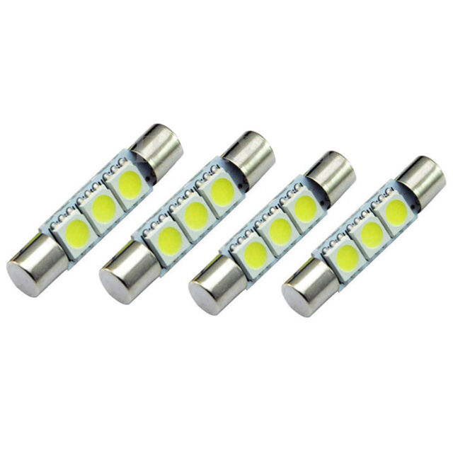 4x White HID 3-SMD 31mm 6641 Fuse LED Vanity Mirror Lights Sun Visor Lamps Bulbs