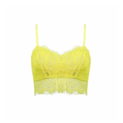 Women/'s Ladies Eyelash Lace Strappy Vest Top Unpadded Bralet Top Lace Bra-Crop