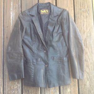 Vintage Satin Bomber Jacket S M Kuccia Revers Eyes Black Zig Zag Floral 80s 90s