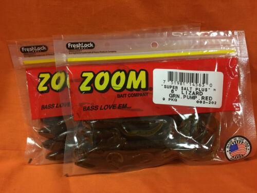 "#002-202 Green Pumpkin Red 2 PCKS ZOOM 6/"" Lizard 9cnt"