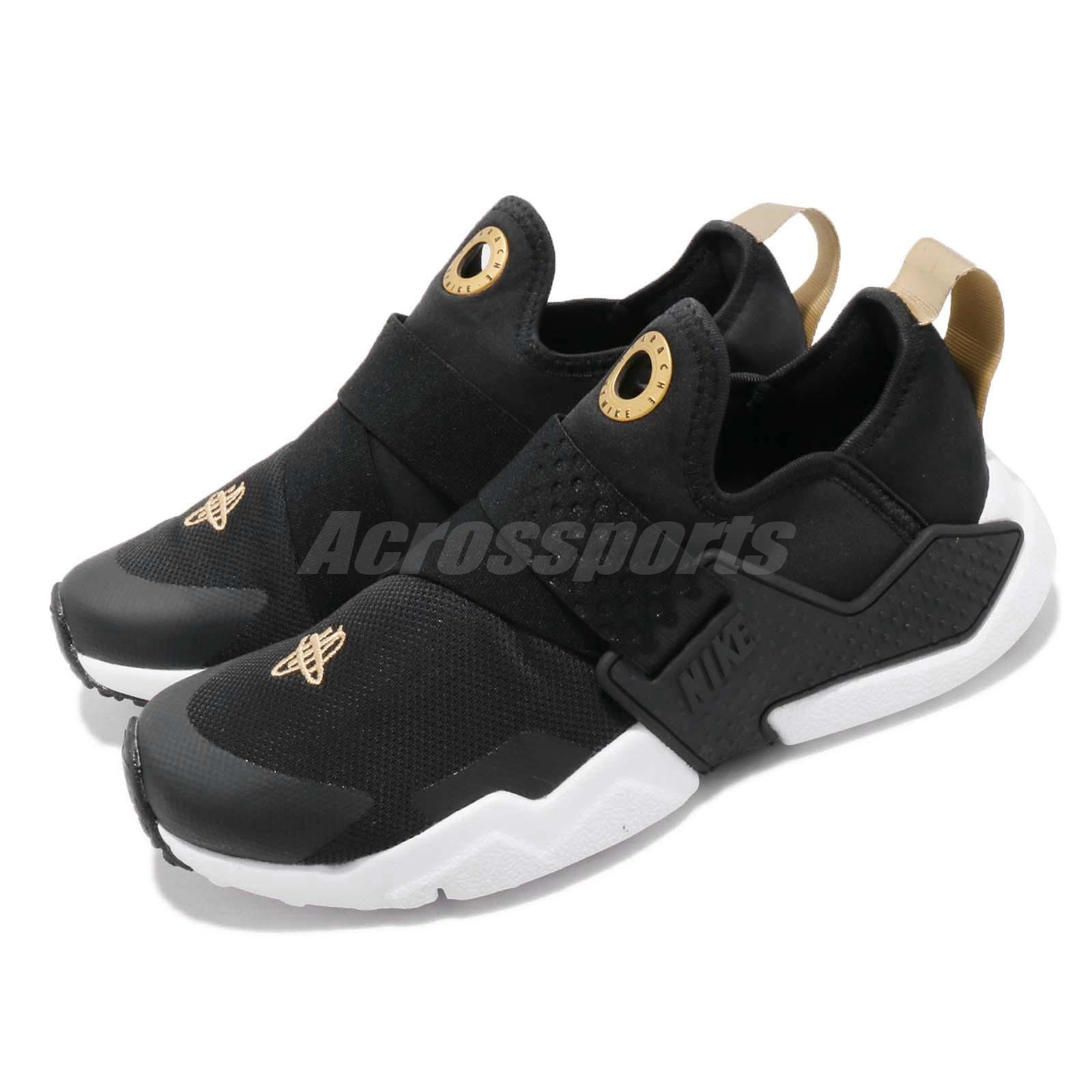 Nike Huarache Extreme GS nero bianca oro Kid Youth donna Slip On AQ0575-007