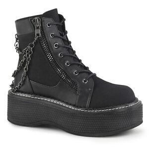 Demonia-EMILY-114-Black-Canvas-Platform-Chains-Punk-Women-039-s-Ankle-Bootie-Boots