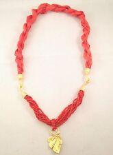 Handmade Coral Silk Genuine Vintage Coral Gemstone Seed Bead Necklace Leaf Charm