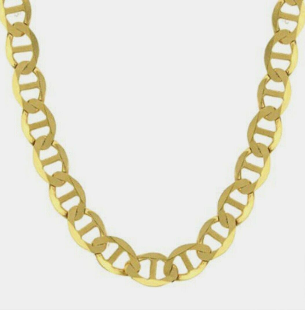 Details about Gold Gucci Flat Mariner Chain Men Women Pendant Necklace in  14K Solid Gold
