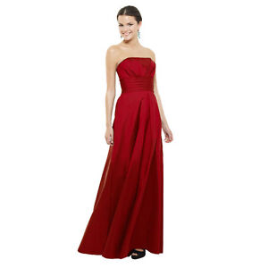 A-Line-Strapless-Pleated-Taffeta-Formal-Evening-Gown-Bridesmaid-Dress-Scarlet