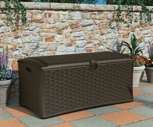 Image Is Loading Resin Wicker Deck Box Outdoor Lockable Patio Storage