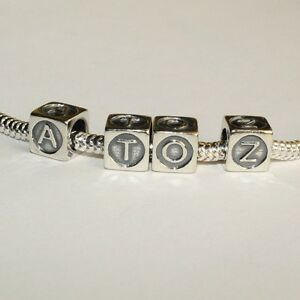 LETTERS-Alphabet-Cube-A-XOXO-Kiss-Solid-925-sterling-silver-European-charm-bead