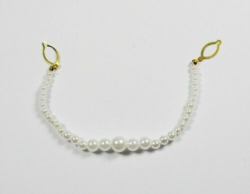 16cm Long White Faux Pearl Beads Necklace// Connector with Gold Link 2 Pieces