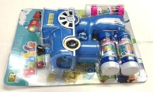 BLUE LIGHT UP CARTOON TRAIN BUBBLE GUN w// LIGHT SOUND MACHINE BLOWER 3 BOTTLES