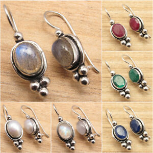 925-Silver-Plated-Blue-Fire-LABRADORITE-amp-Other-Gemstone-CHOICES-Earrings-NEW