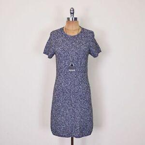 245-Theory-Cecile-Black-amp-White-Gray-Grey-Wool-Knit-Sweater-Jumper-Mini-Dress-M