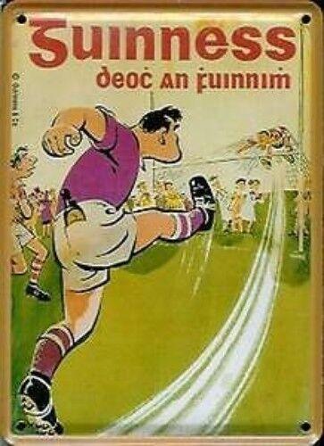 postcard Guinness Gaelic Football miniature metal sign hi