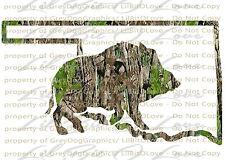 Camo Hog Boar Oklahoma State Outline Hunter Vinyl Decal Sticker Hunting Prairie