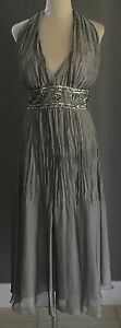 NWT-Silver-MR-K-Sequin-Bead-Waist-Halter-Neck-Gown-Dress-Parties-Formals-Size-14