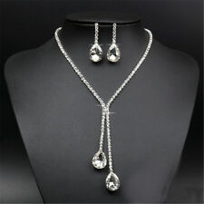 Bridal Wedding Pendant Necklace Earring Silver Plated Crystal Jewelry Sets