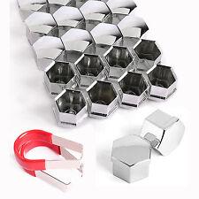 20x 17mm Chrome Nut Bolt Head Hexagonal Protectors Covers Caps For VW Skoda Audi