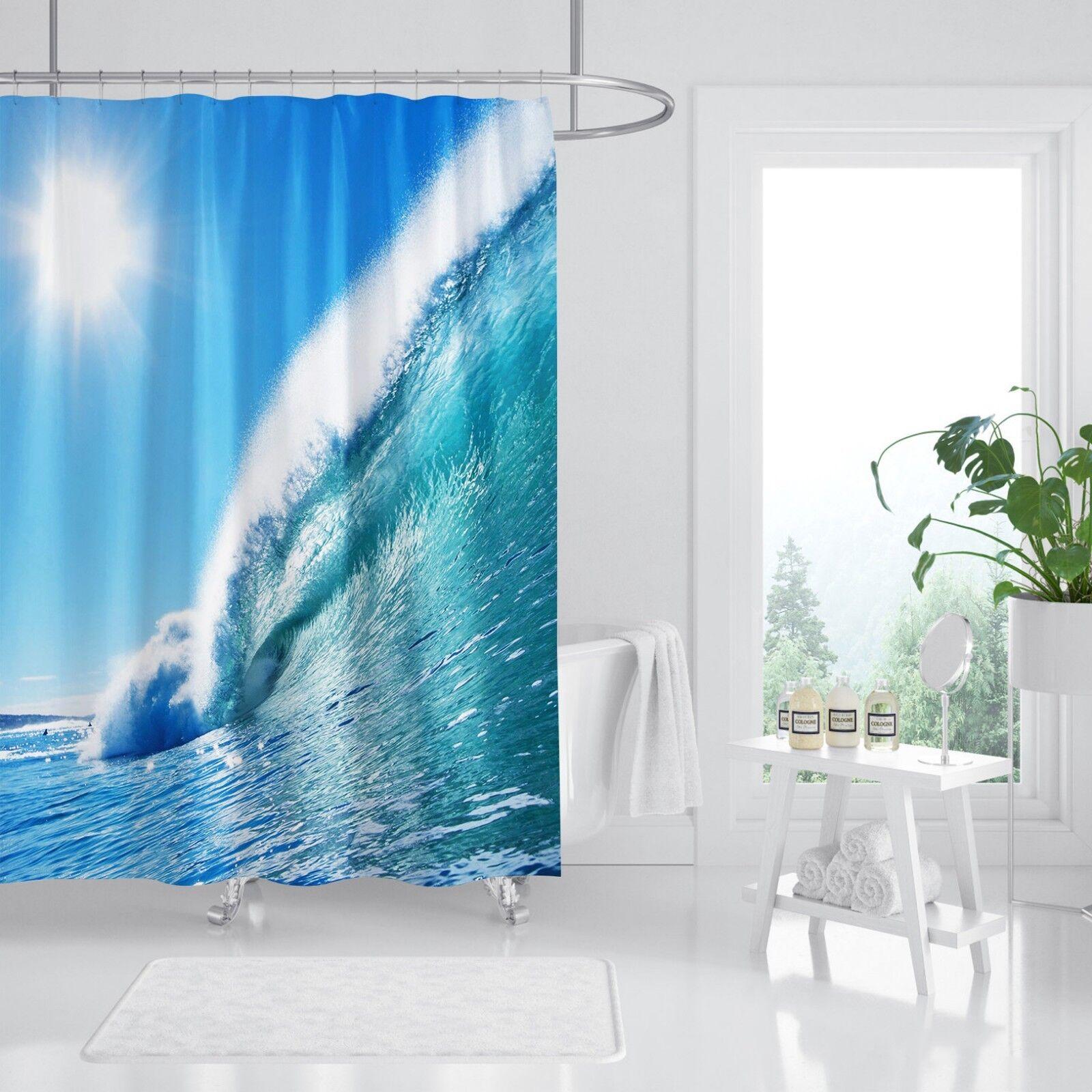 3D Sonne Ozean 8 Duschvorhang Wasserdicht Faser Bad Daheim Windows Toilette DE