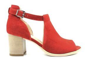Nero-Giardini-P907630D-Rosso-Calzature-Sandali-alla-Caviglia-Donna