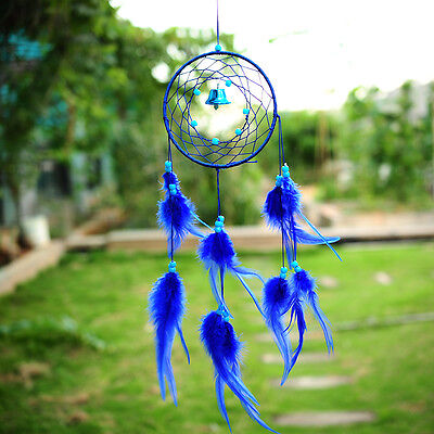 Blue Dream Catcher With feathers Wall Hanging Decoration Decor Ornament Gift