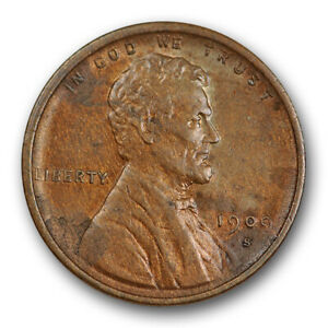 1909-S-VDB-1C-Lincoln-Wheat-Cent-About-Uncirculated-AU-Key-Date-US-Coin