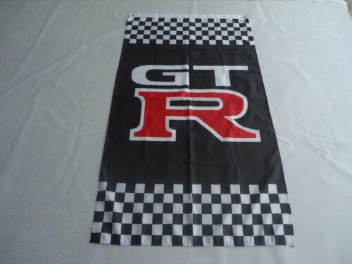 X 5 Ft environ 0.91 m 90x150cm pour NISSAN GTR Drapeau Nouveau drapeau noir Car Racing Bannière Drapeaux 3 FT environ 1.52 m