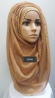 Hijab head scarf maxi shawl chiffon jersey lycra crimp cotton viscose silk SK07