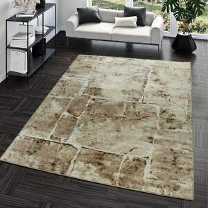 Das Bild Wird Geladen Teppich Steinboden Marmor Optik Design Modern  Wohnzimmerteppich Braun