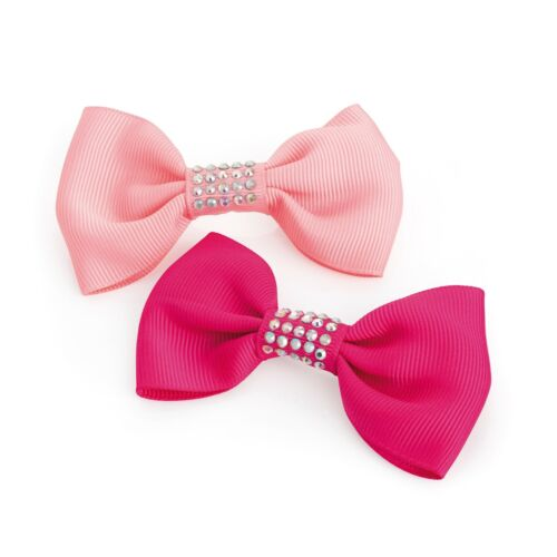 Two piece hot pink and pink tone AB crystal effect hair bow on clip set