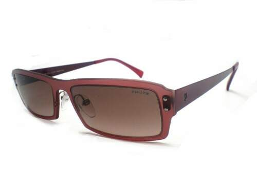 POLICE Ultra Lightweight Sunglasses Semi Matte Burgundy// Brown Fade S8381 SBY