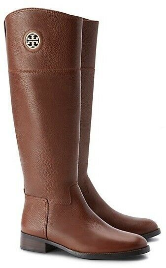 NIB Tory Burch JUNCTION Pebbled Leather Riding Boots ALMOND 7 M Regular Width
