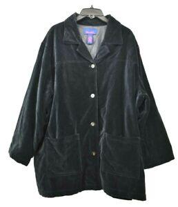 Denim-amp-Co-Women-039-s-Black-Velvet-Button-Front-Patch-Pocket-Long-Sleeve-Jacket-3X