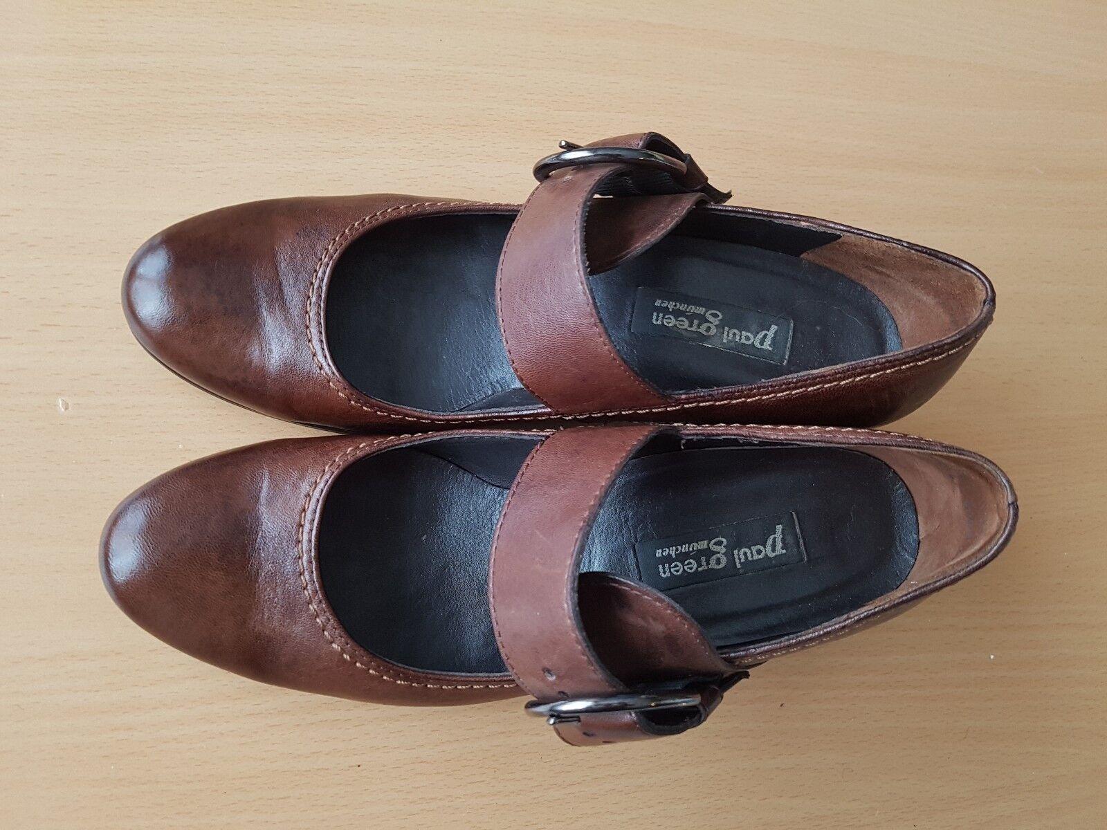 Paul Green Pumps Sandale Damen Schuhe dunkel braun Leder Gr. 5 / 38 Top