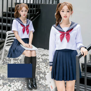 Japanese School JK Uniform Summer Girls Sailor Suit Blouse Pleated Skirt Suit