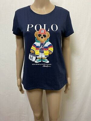 Polo Bear Ralph Lauren T Shirt Womens ~ Large ~ New w/ Tags Cotton Top Navy Blue   eBay