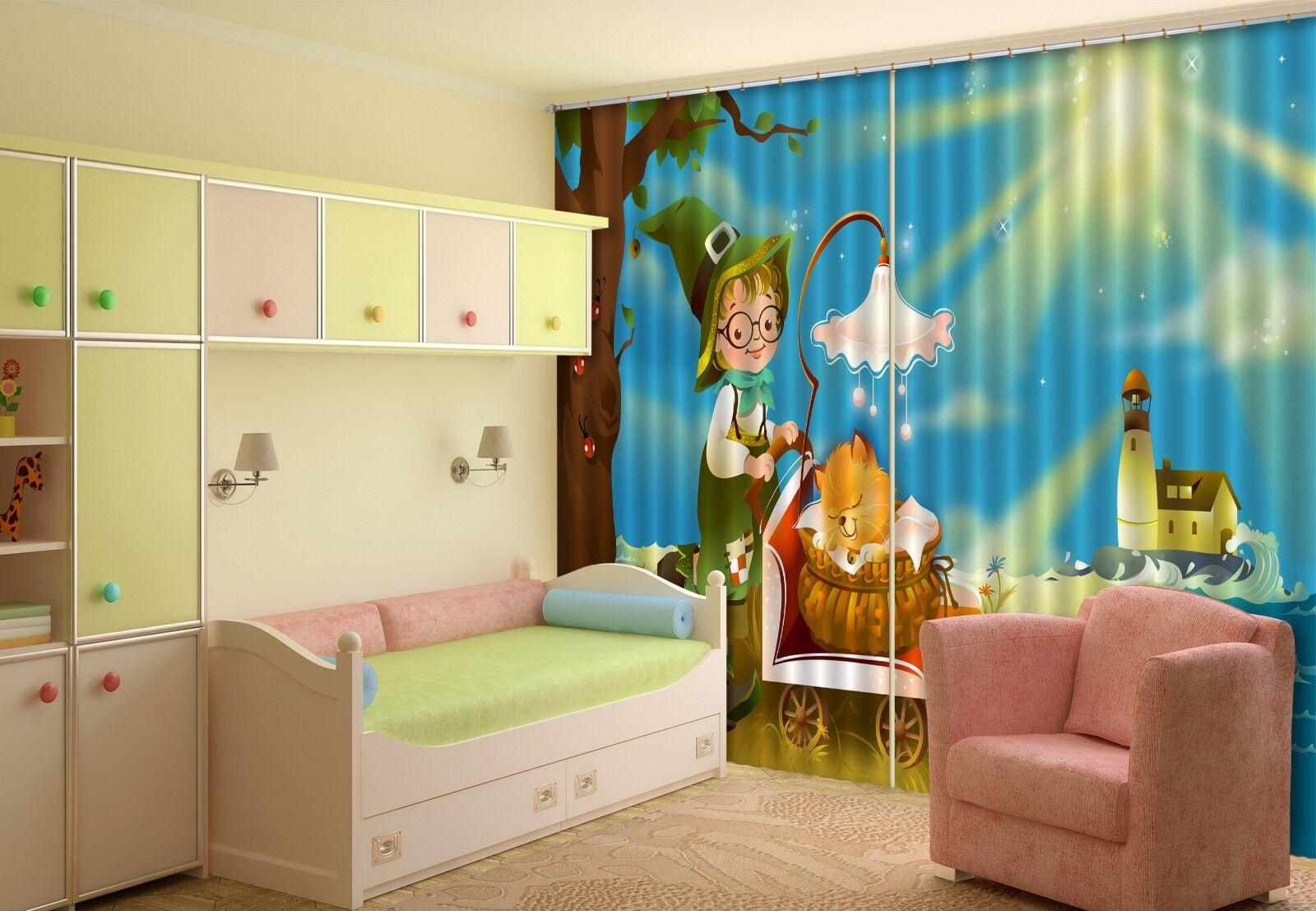 3D Luz de bebé cortinas de impresión de cortina de foto Blockout Tela Cortinas Ventana CA