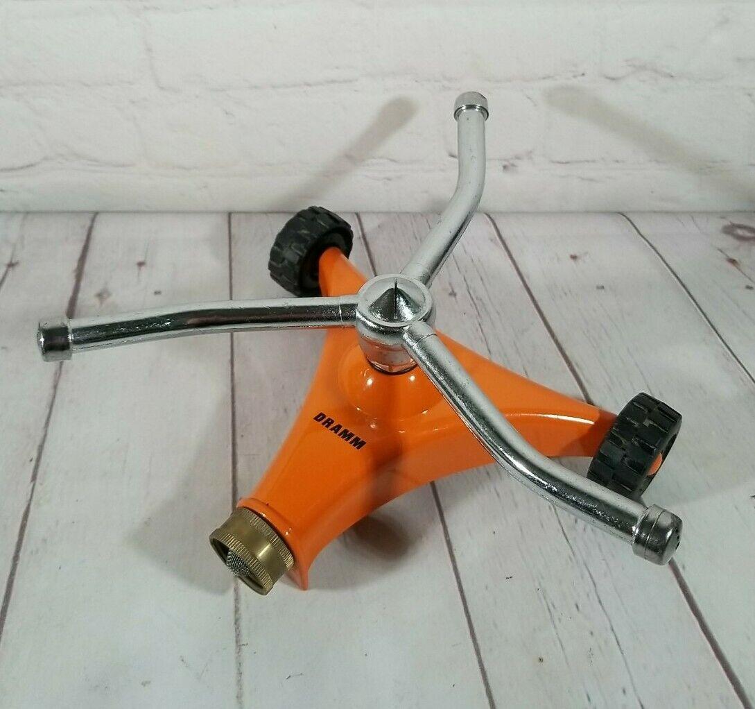 Dramm Orange Revolving Twirling Impulse Sprinkler W/ Heavy Duty Metal Frame 6x8