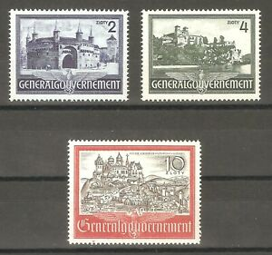 DR-Nazi-3rd-Reich-Rare-WW2-Stamp-Set-Castle-Hitler-039-s-Occupation-Poland-Swastika