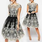 Women Vintage Lace Floral Short Sleeve Evening Formal Cocktail Party Mini Dress