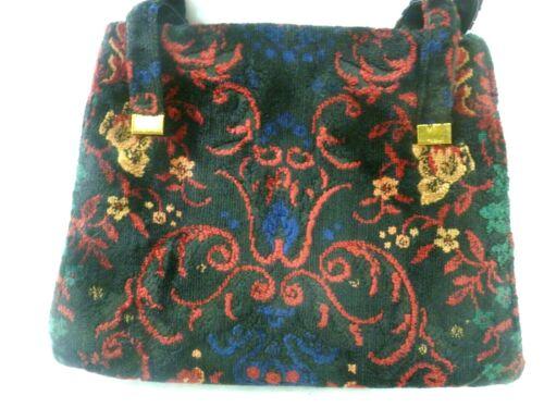 Vintage Carpet Bag Tapestry Colorful Floral Purse