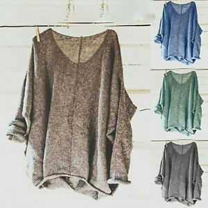 Women-V-Neck-Knitted-Sweater-Long-Sleeve-Casual-Loose-Jumper-Top-Pullover-Blouse