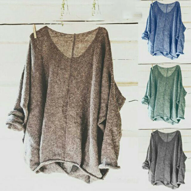 Women Oversize V Neck Knitted Sweater Ladies Loose Casual Jumper Top Plus Size