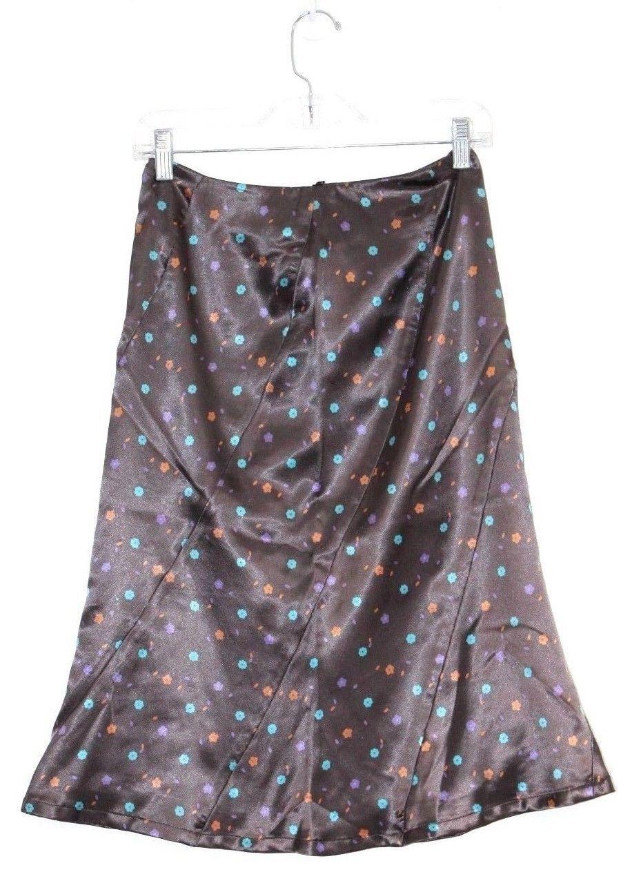 Dekoz - Womens S - Brown Multi Floral Midi Satin A-Line Skirt
