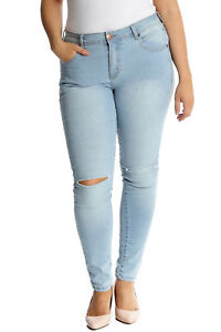 58d93f3894b2d New Ladies Plus Size Jeans Womens Ripped Frayed Straight Leg Pants ...