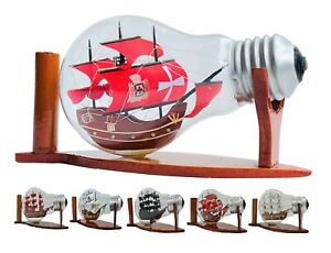 Ship in Bottle Model Boat Lamp Decorative Desk Shelf Display Decor Gift Nautical