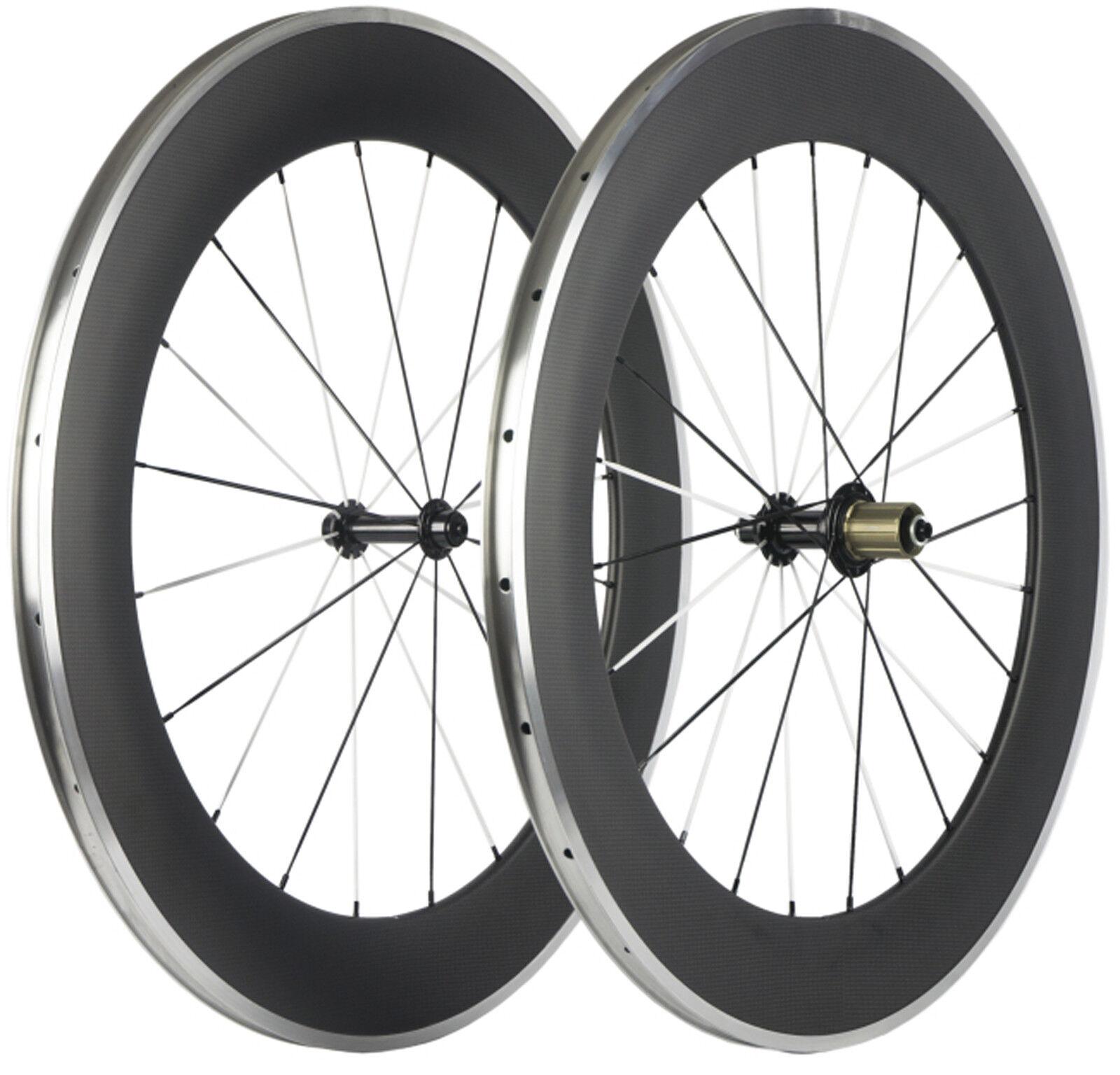 Aluminum Braking Wheels 88mm Clincher Road Bike Wheelset Bicycle 23mm Width 700C
