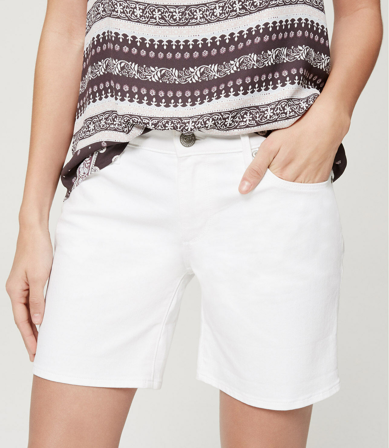 Ann Taylor LOFT Relaxed Skinny Denim Shorts in White Size 24, 25, 26, 28,30 NWT