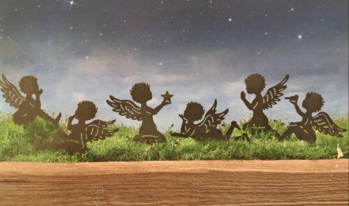 Gartenstecker 6 Engel NEU aus Metall in schwarz Dekostecker
