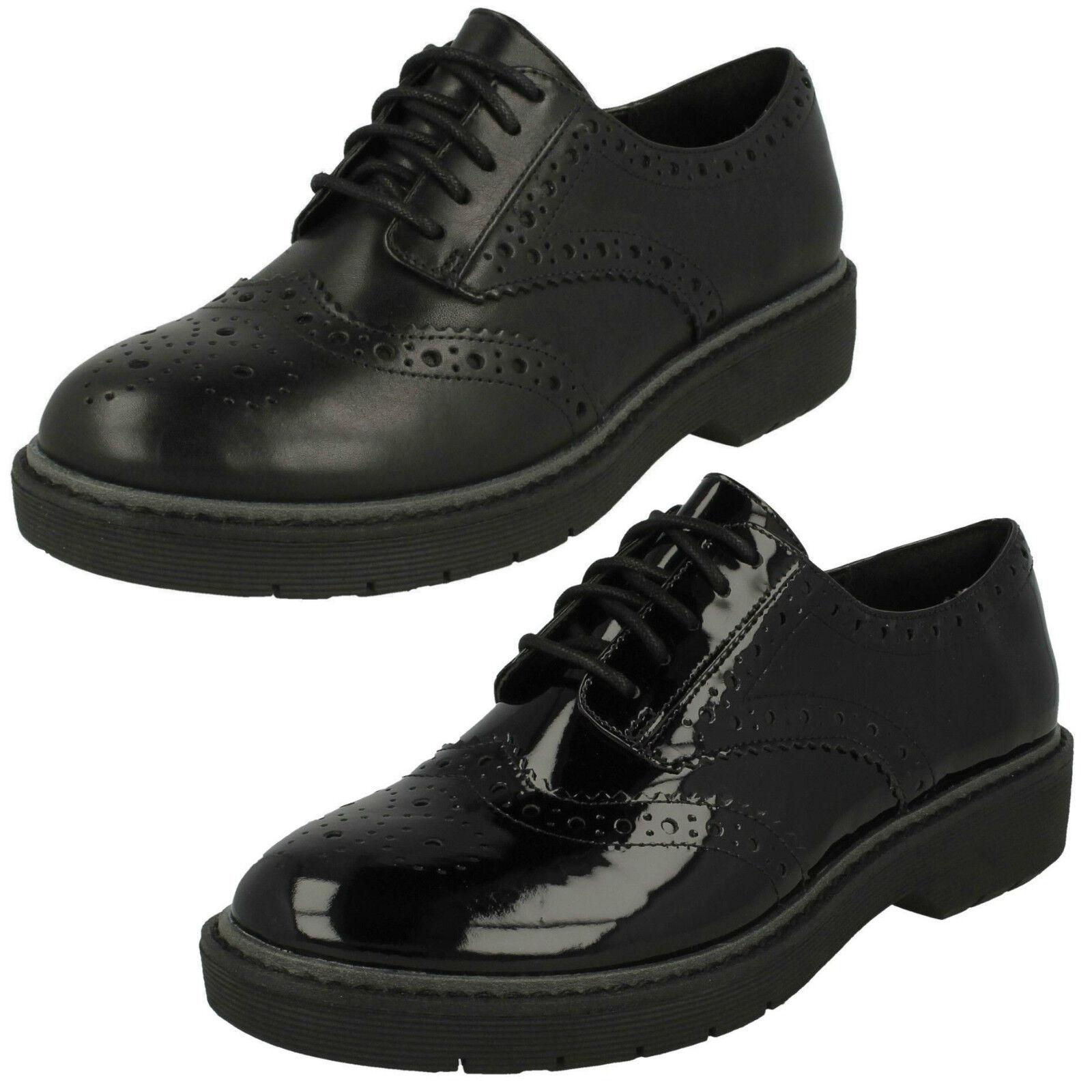 Mujer Clarks Alexa Darcy Cuero Negro o Charol Grueso Grueso Grueso Zapatos Oxford con Cordones  perfecto