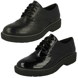 3a2209bff30c Ladies Clarks Alexa Darcy Black Leather Or Patent Chunky Lace Up ...