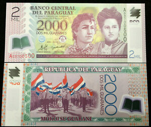 Paraguay 2000 Guaranies Polymer Banknote World Paper Money UNC Currency Bill